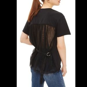 TOPSHOP Black Tulle Back Tee Size 6